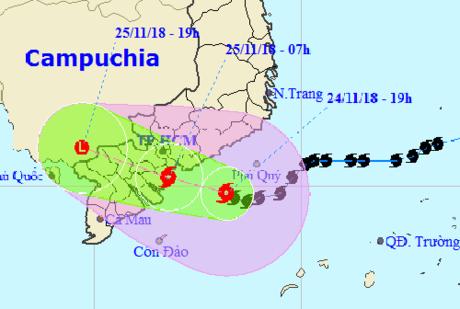 Bão số 9 đang đổ bộ vào Vũng Tàu với sức gió 75-100 km/h giật trên cấp 13